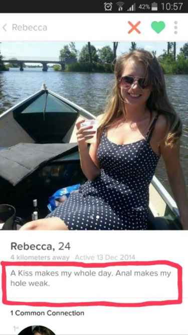 "Rebecca: ""A kiss makes my whole day. Anal makes my hole weak."" #LOL"