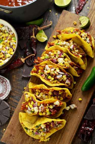 Crunchy Mexican BBQ Sauced Chicken #Tacos with Charred Corn Relish