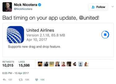 United Airlines updated their app with new 'drag and drop' feature... bad timing