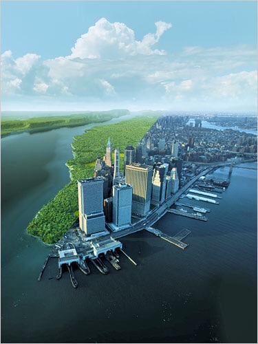 Split view of how #Manhattan would have looked like in 1612 vs today