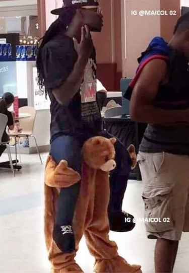 The bear pants... because jeans are too mainstream