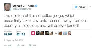President Trump disrespected the 'so-called judge' who temporarily blocked his immigration order