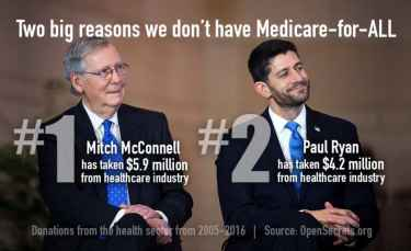 Two reasons why we don't have medicare for all... McConnell and Ryan are recipients of big donations from Healthcare industry