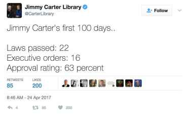 Jimmy Carter Library Twitter Mocks Trump's First 100 Days