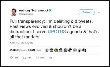 White House communications director Anthony Scaramucci doesn't know how 'full trasparency' works
