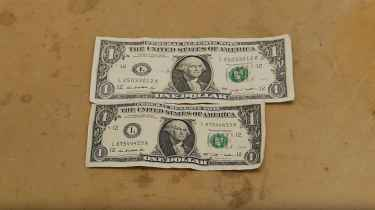 This is what happens to a dollar bill when you dip it in liquid ammonia