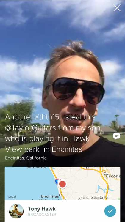 #Celebrity: Tony Hawk live broadcast on Periscope @tonyhawk