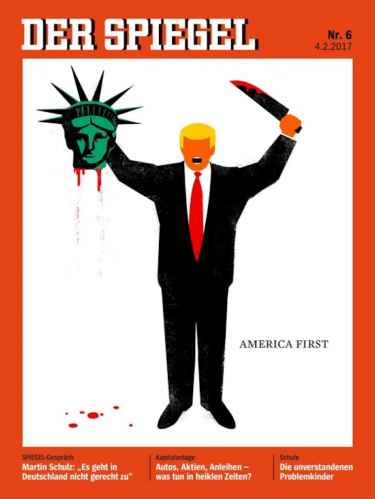 German magazine Der Spiegel cover illustration depicts Donald Trump beheading Statue of Liberty
