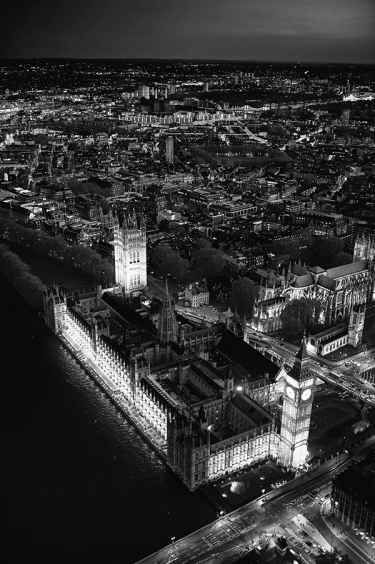 Aerial Views of London at Night: Black and White