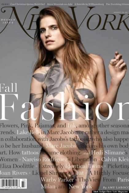 #Celeb: Lake Bell Poses Nude, Patched With Some Tattoos For New York Magazine
