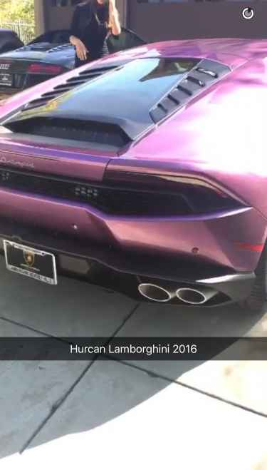 Blac Chyna Posted Snapchat Showing Off Purple Lamborghini Given By Rob Kardashian @BlacChynaLA
