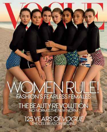 Vogue shares photo of their March cover featuring female diversity... but according to some, not diverse enough