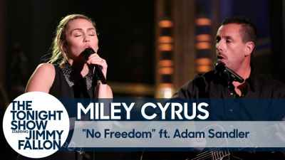 "Miley Cyrus ft. Adam Sandler Sings ""No Freedom"" at the Tonight Show as Tribute to Las Vegas Shooting Victims"