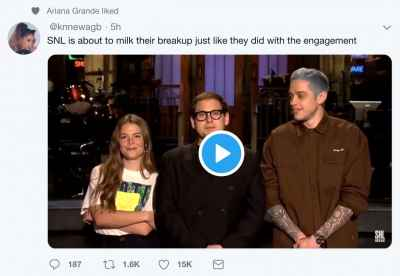 Ariana Grande liked a tweet of Pete Davidson making jokes on getting married on SNL
