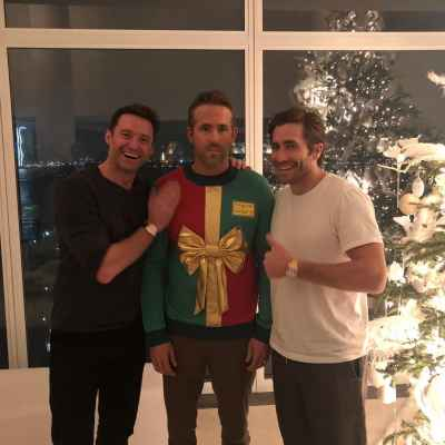 Jake Gyllenhaal and Hugh Jackman invited Ryan Reynolds to an ugly sweater party. #RyanReynolds