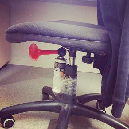 Classic office April Fools' Day idea, an airhorn under your coworkers seat