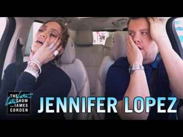 Jennifer Lopez sends a text to Leonardo DiCaprio while in Carpool Karaoke with James Corden