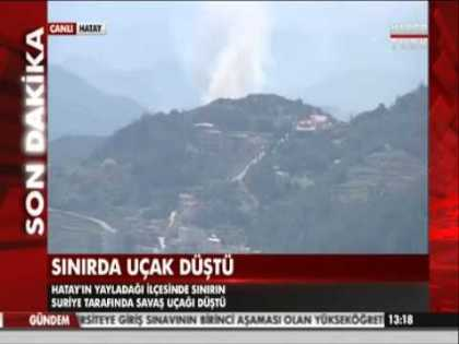 Turkish air defense forces shot down a Syrian fighter jet and seen on #LiveTV