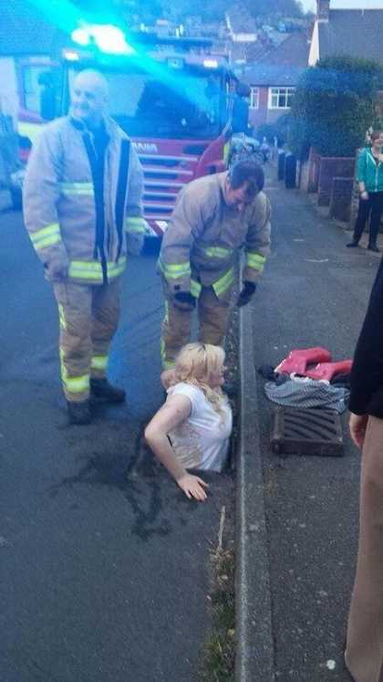 She got stuck in the drainage trying to retrieve her phone... #wtf