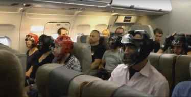 United Airlines passengers started wearing helmets on their flight