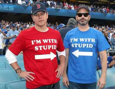 Matt Damon and Jimmy Kimmel at the #RedSox vs #Dodgers #WorldSeries game