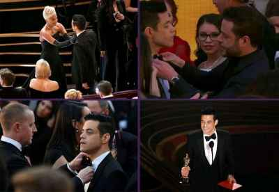 Rami Malek's bow tie on last night's #Oscars won't cooperate. #RamiMalek