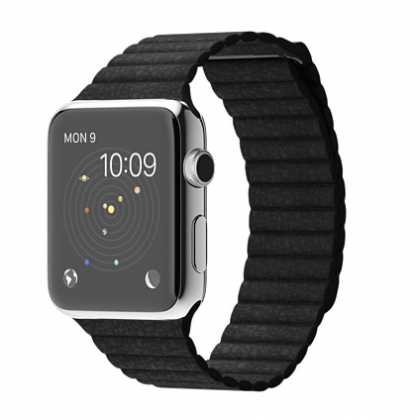 Apple Watch Stainless Steel Case with Black Leather Loop #myAppleWatch