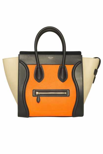 Céline Mini Luggage Tote in Mulitcolor Elephant Calfskin Bright Orange, $3,450 😢