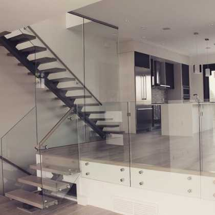 Open space, glass, and stairs #modern