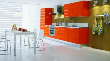 #Simple #kitchen design ideas with a touch of #white and #orange