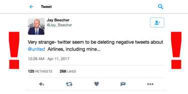 Twitter allegedly deleting negative tweets about United Airlines