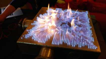 This is how you mix #music and #fire!... Pyro Board... a 2D Rubens' Tube!