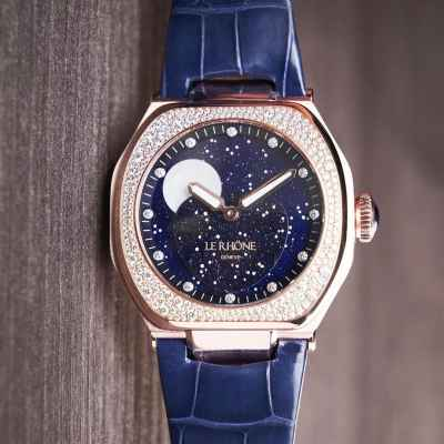 Le Rhone's Hedonia Grande Phase de Lune 37mm with a Snow Setting Bezel