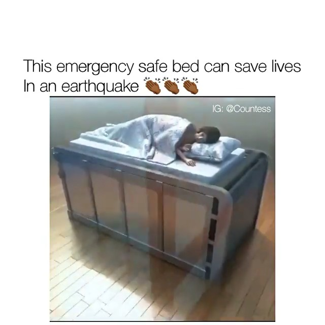 This emergency safe bed will enclose you in a solid vault when there's an earthquake