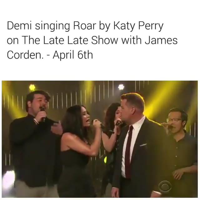 Demi Lovato belting Katy Perry's Roar at The Late Late Show with James Corden